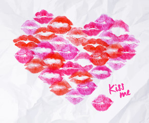 Heart lipstick kiss