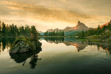 Beautiful mountain lake in the Dolomites