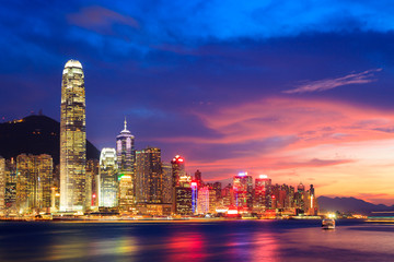 Hong Kong skyline at night, China