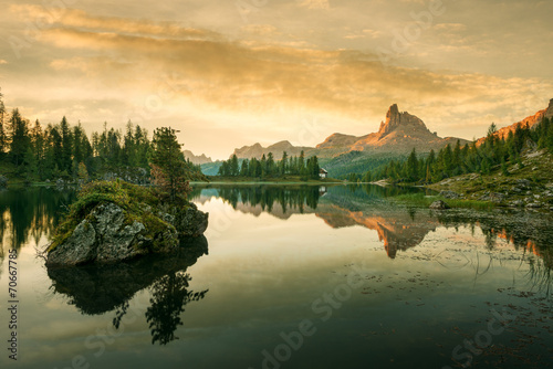Beautiful mountain lake in the Dolomites