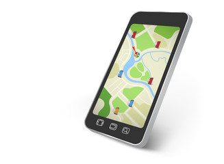 Map on the smartphone screen