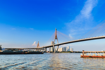 Bridge across the river transport.
