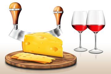 Schnittkäse mit Löchern, Käseschneider und Rotweingläser, fr