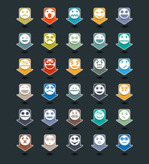 Icons set of colour smiley.Face emotion.Mapping pins design.