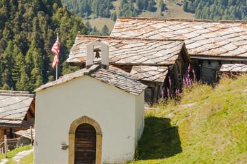 Zermatt, Findeln, Weiler, Bergdorf, Schweizer Alpen, Sommer