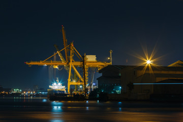 Commercial docks at  night