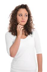 Portrait einer unglücklichen traurigen jungen Frau