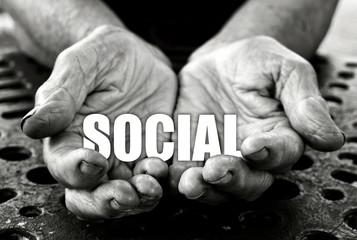 Social concept in the old female hands