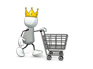 little sketchy man with king crown and shopping cart