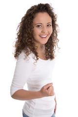 Erfolgreiche stolze junge Frau: Freisteller