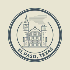 Stamp with name of Texas, El Paso, vector illustration