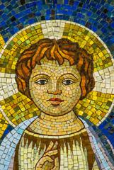 Mosaico Gesù bambino aureola, sfondo con trama
