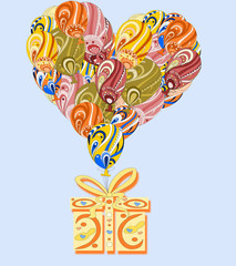 Heart made ​​of colorful air balloons with gift on a blue ba
