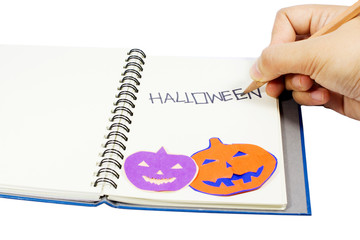 Holloween wording on notebook