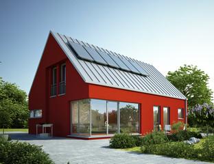 Haus mit Zinkdach rot