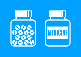 White medicine icons on blue background