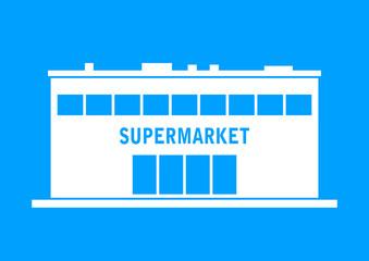 White supermarket icon on blue background