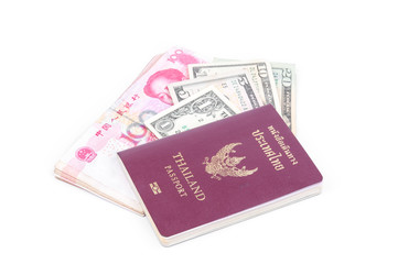 Thailand passport and Dollar USA on white background.
