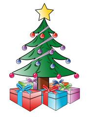 Tannenbaum mit Geschenken als Vektorgrafik