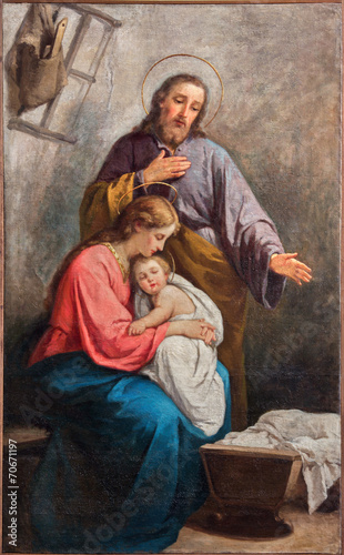 Papiers peints Monument Bergamo - The paint of Holy Family from year 1900.