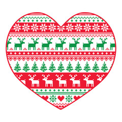 Christmas card - red and green nordic pattern on white