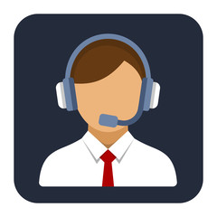 Call Center Operator or Manager with Headset Flat Style Icon.