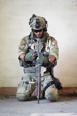 american soldier resting from military operation