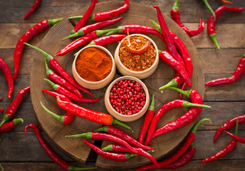 Red chili peppers and spices on the table