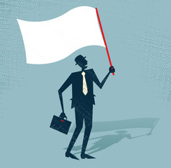 Abstract Businessman Waves the White Flag of Defeat.