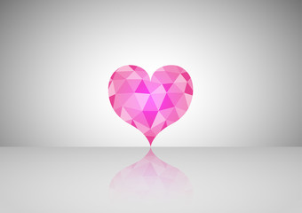 Pink geometric heart with triangles