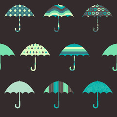 Pretty Umbrellas Seamless Pattern