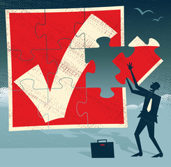 Abstract Businessman with Missing Piece of Puzzle.