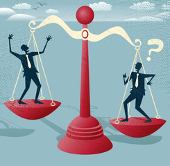 Abstract Businessmen balance on giant scales.