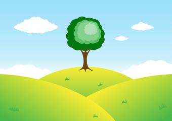 Tree on top of mountain. Vector Illustration
