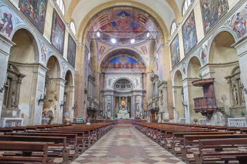 Padua - The nave of church Basilica del Carmine.
