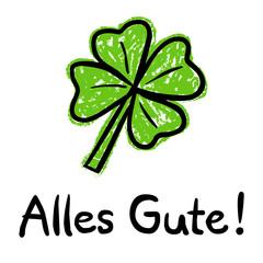Alles-Gute-Karte mit vierblättrigem Kleeblatt, Kreidezeichnung