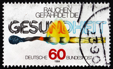 Postage stamp Germany 1984 Match and Text, Smoking