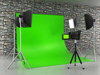 Green screen studio setup