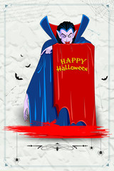 Scary Dracula in Halloween night