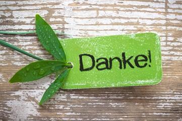 """Grüne """"Danke"""" - Plakette auf Holz"""