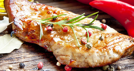 Juicy Grilled Pork Steak with Condiments