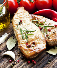 Grilled Pork Steak with Rosemary and Vegetables