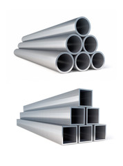 Piles of metallic pipes circle and square metal rollings. 3d