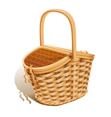 Basket for picnic. Eps10 vector illustration. Isolated