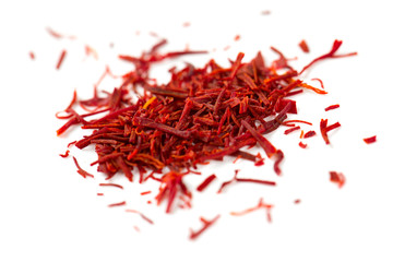 pile of saffron isolated on white background