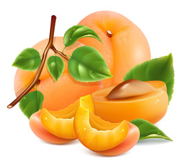 Apricots with green leaves and water drops