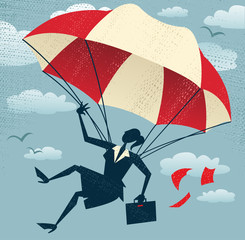 Abstract Businesswoman uses her Parachute