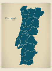 Modern Map - Portugal with districts PT