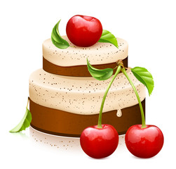Sweet cake with ripe cherries