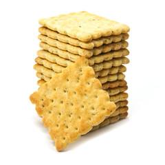 Vegetable cracker on white background